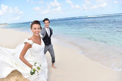 Recently married couple in caribbean islands Royalty Free Stock Photography