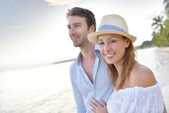 Recently married couple on their honeymoon in caribbean islands Royalty Free Stock Images