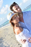 Recently married couple on their honeymoon in tropics Royalty Free Stock Images