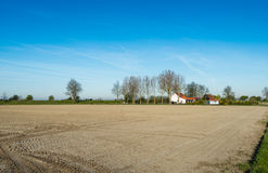 Recently prepared farmland at the beginning of the spring season Stock Image