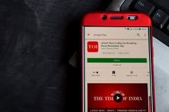Recentste Nieuws India, Live Breaking News, Krant dev app op Smartphone-het scherm royalty-vrije stock foto
