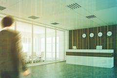 Recepção branca e de madeira, sala de reunião, dobro Fotos de Stock Royalty Free