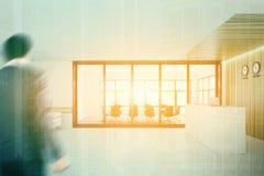 Recepção branca e de madeira, sala de reunião, dobro Imagens de Stock Royalty Free
