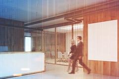 Recepção de madeira branca, sala de reunião tonificada Imagens de Stock Royalty Free
