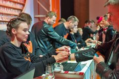 Recepção do festival da gole do uísque em Kiev, Uktaine foto de stock