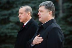 Recep Tayyip Erdogan och Petro Poroshenko Royaltyfri Fotografi