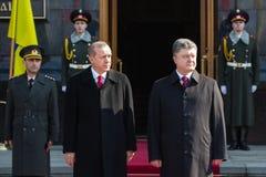 Recep Tayyip Erdogan och Petro Poroshenko Royaltyfria Bilder