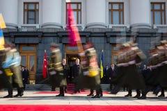 Recep Tayyip Erdogan och Petro Poroshenko Arkivbilder