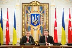 Recep Tayyip Erdogan and Petro Poroshenko Stock Photography