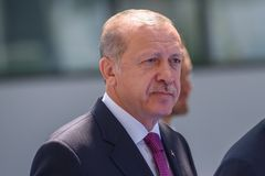 Recep Tayyip Erdogan, President of Turkey. 11.07.2018. BRUSSELS, BELGIUM. Recep Tayyip Erdogan, President of Turkey, during World leaders Arriving to NATO North stock image