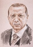 Recep Tayyip Erdogan president of Turkey. Hand drawn artistic po. Rtrait made by sepia, charcoal and chalk on toned textured paper Royalty Free Stock Image