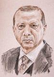 Recep Tayyip Erdogan prezydent Turcja Ręka rysujący artystyczny po ilustracji