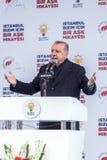 Recep Tayyip Erdogan spricht am Treffen in Bagcilar lizenzfreie stockfotografie