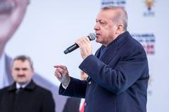 Recep Tayyip Erdogan spricht am Treffen lizenzfreies stockfoto