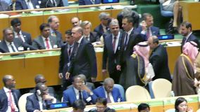 Recep Tayyip Erdogan at the United Nations General Assembly. General view of the conference room of 71st session of the United Nations General Assembly in New stock video
