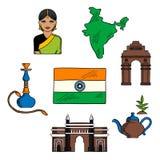 Recepción al bosquejo colorido de la India para el diseño del viaje Imágenes de archivo libres de regalías