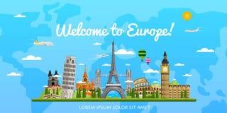 Recepción al cartel de Europa con las atracciones famosas ilustración del vector