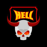 Recepción al infierno Placa para la puerta Cráneo de Satans con los cuernos En ojo Imagen de archivo libre de regalías