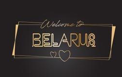 Recepción de Bielorrusia al ejemplo de neón del vector de la tipografía del texto que pone letras de oro libre illustration