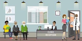 Recepción de la clínica, doctor y pacientes de la mujer mayor, afroamericano stock de ilustración