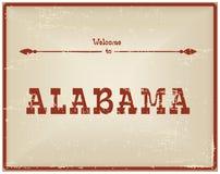 Recepción de la tarjeta del vintage a Alabama Foto de archivo