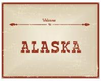 Recepción de la tarjeta del vintage a Alaska Fotos de archivo