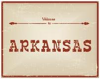 Recepción de la tarjeta del vintage a Arkansas Fotos de archivo