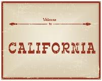 Recepción de la tarjeta del vintage a California Imagen de archivo libre de regalías