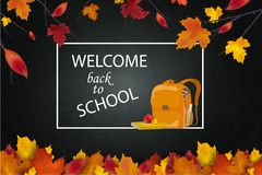 Recepción de nuevo a concepto de la escuela Enseñe la mochila, hojas de septiembre del otoño en la pizarra de la escuela, fondo d Imagenes de archivo