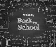 Recepción de nuevo a escuela con fórmula en la pizarra ilustración del vector