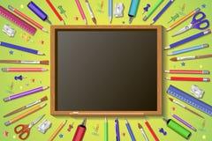 Recepción de nuevo a escuela en pizarra con los artículos y los elementos de la escuela diseño realista del cartel del título 3D  ilustración del vector