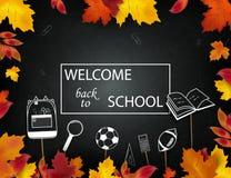 Recepción de nuevo a escuela los iconos de las fuentes de escuela, otoño septiembre se van en la pizarra de la escuela, fondo de  Imagenes de archivo