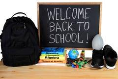 Recepción de nuevo a la escuela - fuente de escuela Imagen de archivo