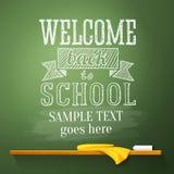 Recepción de nuevo a mensaje de la escuela en la pizarra Fotografía de archivo libre de regalías