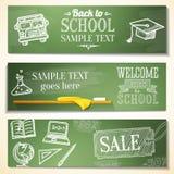 Recepción de nuevo a mensajes de la escuela en la pizarra Imagen de archivo