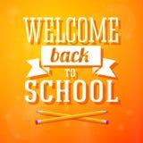 Recepción de nuevo a tarjeta de felicitación de la escuela con cruzado Imagen de archivo libre de regalías