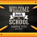 Recepción de nuevo a tarjeta de felicitación de la escuela con el lugar Foto de archivo
