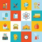 Recepción del sistema del icono de la educación de nuevo a diseño plano de la escuela Fotos de archivo libres de regalías