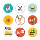 Recepción del sistema del icono de la educación de nuevo a diseño plano de la escuela Foto de archivo libre de regalías
