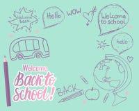 Recepción determinada de nuevo a tarjeta de la escuela Vector el ejemplo dibujado mano del ` s de los niños en colores modernos Imágenes de archivo libres de regalías