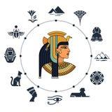 Recepción a Egipto Símbolos de Egipto Turismo y aventura Ejemplo del vector y sistema del icono libre illustration