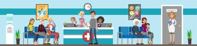 Recepción en el hospital stock de ilustración