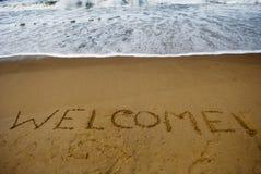 Recepción en la playa arenosa Imágenes de archivo libres de regalías