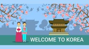 Recepción a la bandera de la Corea del Sur, cupé coreano en trajes tradicionales sobre las señales de Seul ilustración del vector