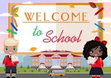 Recepción a la escuela anuncio con un libro, la muchacha y un muchacho, escuela, autobús escolar ilustración del vector