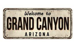 Recepción a la muestra oxidada del metal del vintage de Grand Canyon stock de ilustración