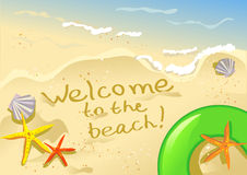 Recepción a la playa Fotografía de archivo libre de regalías