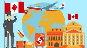 Recepción a la postal de Canadá Concepto del viaje y del safari de ejemplo del vector del mapa del mundo de Europa con la bandera stock de ilustración