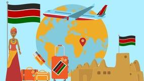 Recepción a la postal de Kenia Concepto del viaje y del safari de ejemplo del vector del mapa del mundo de África con el fondo de libre illustration