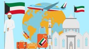 Recepción a la postal de Kuwait Concepto del viaje y del viaje de ejemplo islámico del vector del país con la bandera nacional de libre illustration
